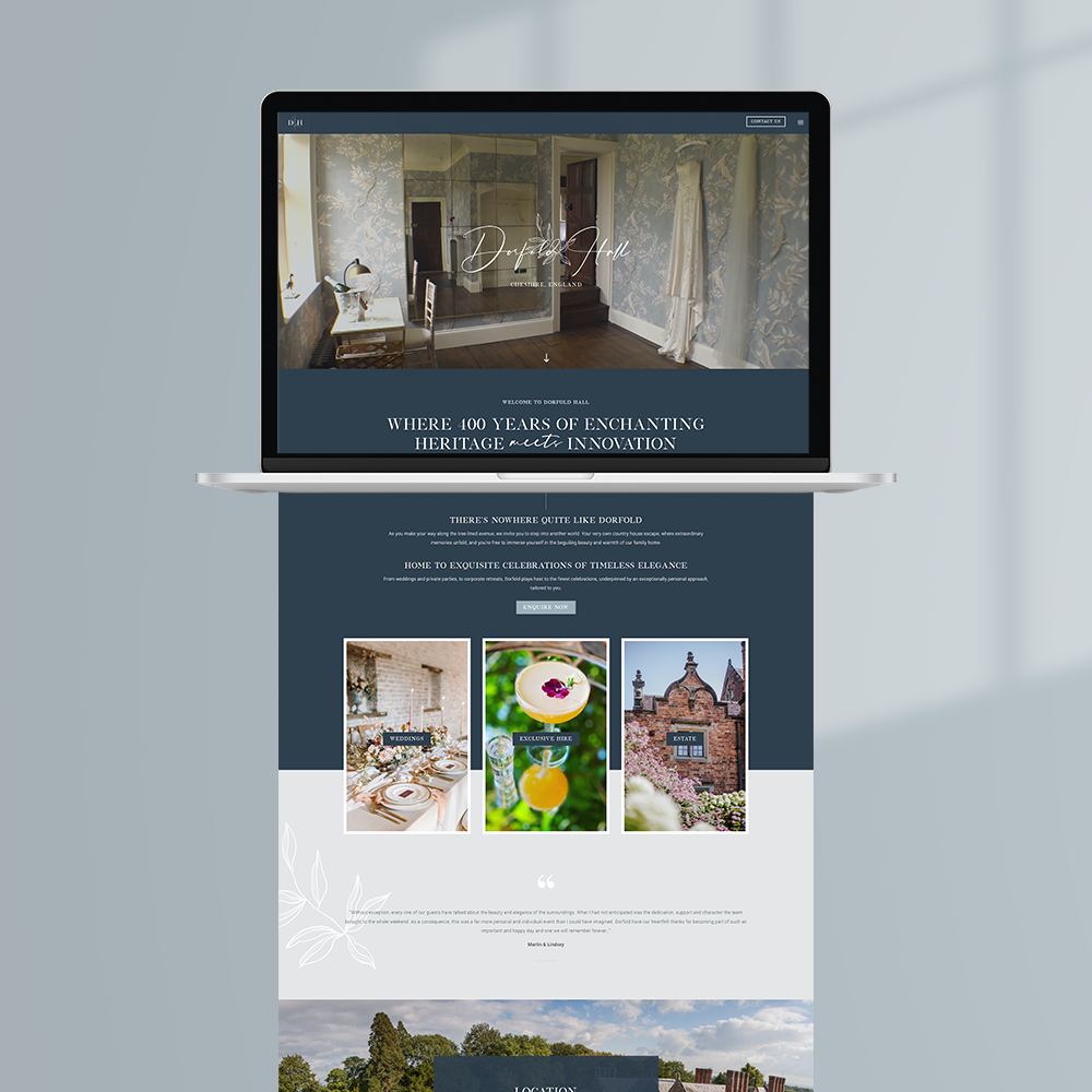 Dorfold Hall - Website Design